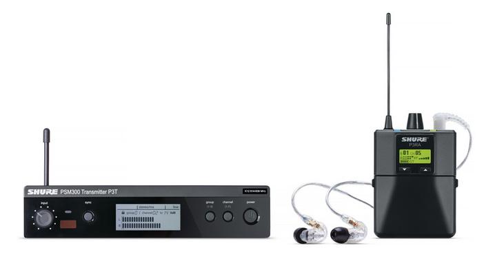 무대 음향 장비로 유명한 슈어의 인이어 모니터링 시스템 PSM-300 패키지. 무선송신기로 보낸 신호를 소형 무선수신기가 받아 음성신호로 변환하면 이를 이어폰으로 청취하게 된다. ( http://www.shure.com/americas/products/personal-monitor-systems )