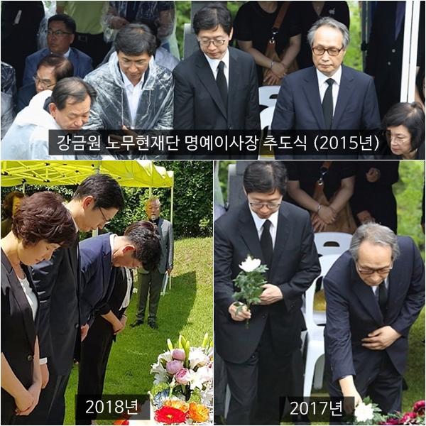 강금원 노무현재단 명예이사장 추도식 사진들, 김경수 경남지사가 매년 참석했다는 사실을 알 수 있다.