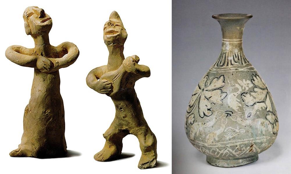 신라흙인형(왼쪽)과 조선 분청자 문양 남자가 비파를 연주하고 여자는 손을 맞잡고 노래를 부른다. 오른쪽 분청자 문양을 보면 마치 아이가 그린 것처럼 쓱쓱 그렸다. 정확히 무엇을 그린지는 알 수 없다.