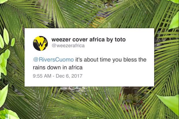 토토의 'Africa'를 커버한 위저의 싱글 커버. 소녀 팬의 트윗을 활용했다.