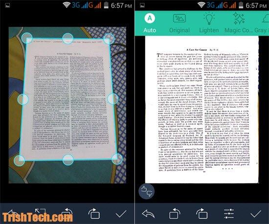 비스듬하게 찍어도 페이지를 제대로 인식하는 캠스캐너의 강력한 스캔 기능