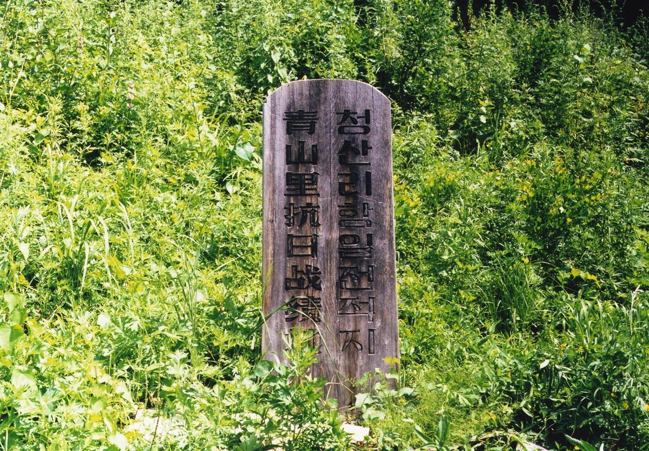 중국 길림성 부흥향에있었던 청산리전적 나무비