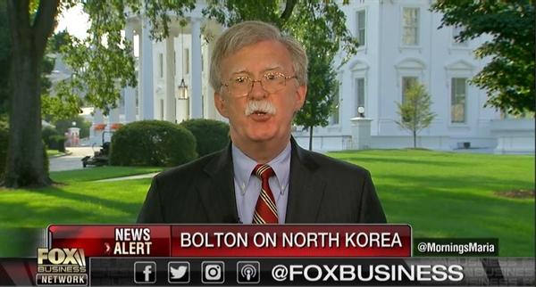 미국 시각으로 7일 오전 <폭스 비즈니스>에 출연한 존 볼턴 백악관 국가안전보장회의 보좌관.