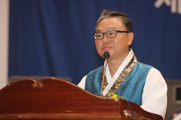허광 회장이 제3회 88세계한궁의날 기념 및 선언문을 밝히고 있다.