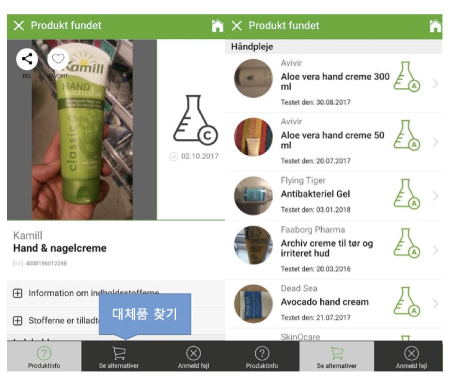 덴마크 시민단체인 DCC에서 만든 'kemiluppen'이라는 앱.  소비자가 안전한 생활화학제품을 선택할 수 있도록 도움을 주고 있다.