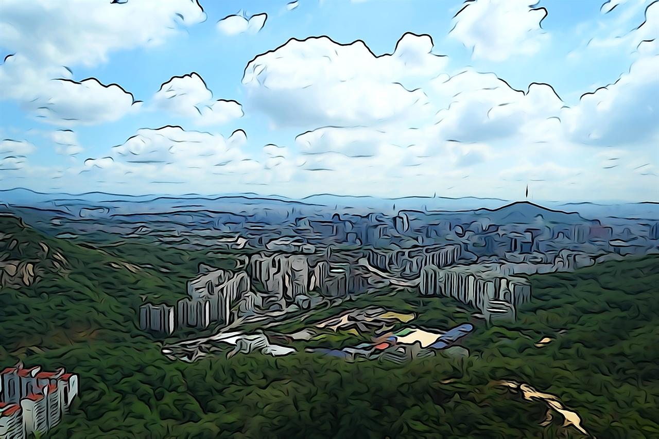 안산에서 바라본 서울 시내 풍경