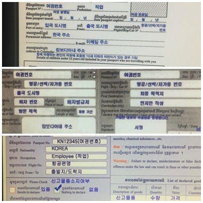 비자신청서,출입국카드신청서,세관신청서 샘플 양식