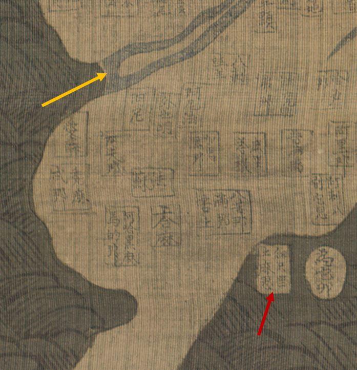 강리도 류코쿠대본 노란 화살표는 지중해 입구