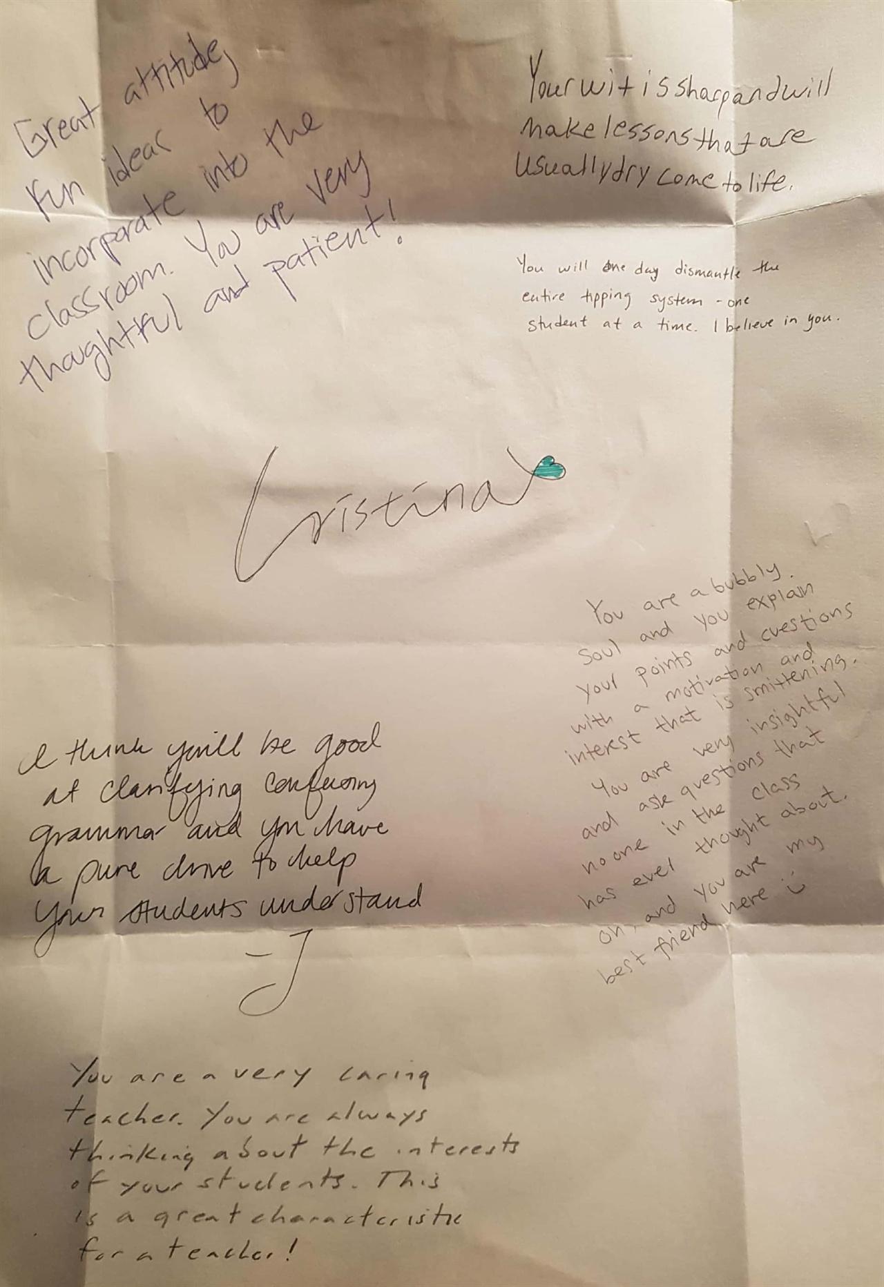 강사님을 포함 반의 모두가 손수 롤링페이퍼를 써주었다.