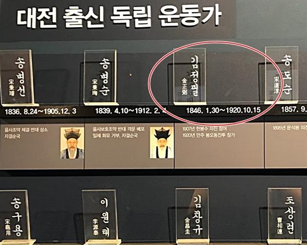 대전시 근현대전시관에는 국가보훈처가 지난해 서훈을 취소한  인물을  '대전 출신 독립운동가'라며 홍보하고 있다.