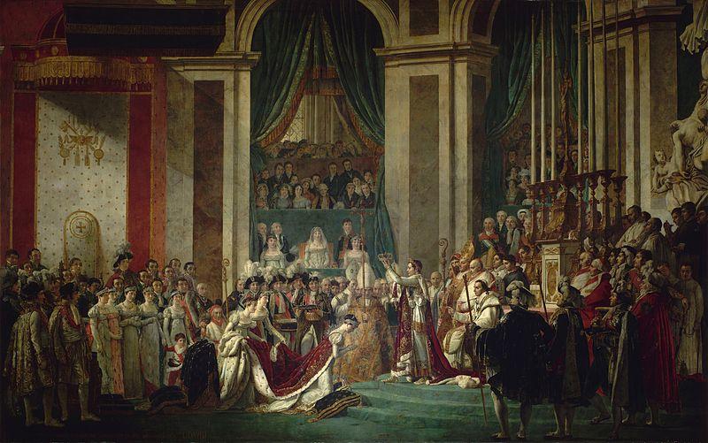 베르사유 궁전에 걸려 있는 <나폴레옹 대관식>  왼쪽에 나란히 서 있는 다섯 여자 가운데 두 번째 여자 곧 나폴레옹 여동생 중의 하나인 폴린의 옷 색깔이 다르다. 루브르박물관의 것은 옅은 청회색인데, 베르사유의 것은 옅은 핑크빛이다