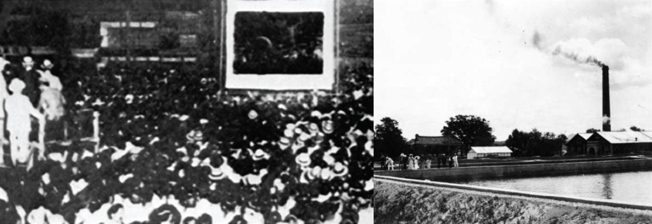 동대문발전소 활동사진전람소와 경성수도양수공장 한성전기 운영대행을 하면서 콜브란과 보스트윅은 1903년 동대문발전소 전차 기계창 앞마당에 옥양목으로 된 스크린을 세워 만든 활동사진 전람소(왼쪽 사진)를 운영했는데 최초의 영화상영관으로 추정된다. (왼쪽 사진) 일요일과 비오는 날을 제외하고 매일 밤 8시부터 10시까지 활동사진이 상영됐으며, 초기 목적은 채권을 둘러싼 대한제국 정부와의 갈등과 전차사업에 대한 백성들의 반감을 줄여보려는 것이었지만 입장료가 동화 10전 정도에 관람객이 늘어나 이후 수익사업화 했다. 이후 콜브란&보스투윅상사는 1908년에 뚝섬에 경성수도양수공장을 지어 수도사업을 시작했다. (오른쪽 사진) 침전지, 여과지, 정수지, 송수실 등을 갖춘 우리나라 최초의 상수도 시설로 그해 9월 4대문 안과 용산 일대 12만5천명에게 수돗물이 공급됐고 해방 후 뚝섬 정수장으로 이름으로 1990년까지 사용됐다. 현재는 수도박물관으로 사용되고 있다.