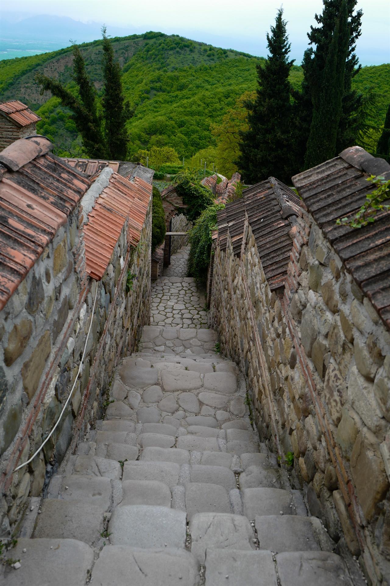 보드베수도원 성 니노 샘으로 가는 길. 계단을 따라 한참 걸어 내려가야 한다.