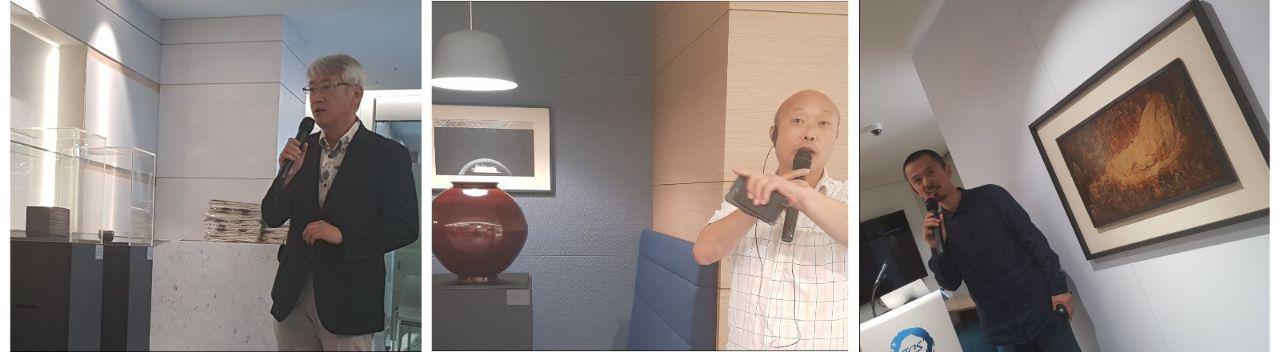 좌로부터 일본의 미즈카미 오사무(오키나와 현립 예술대 교수), 이종헌(민족미술인 협회 회장), 양페이창(중국. 칭화대 교수) 작가가 자신의 자굼과 예술 세계에 대해 소개를 하고 있다.