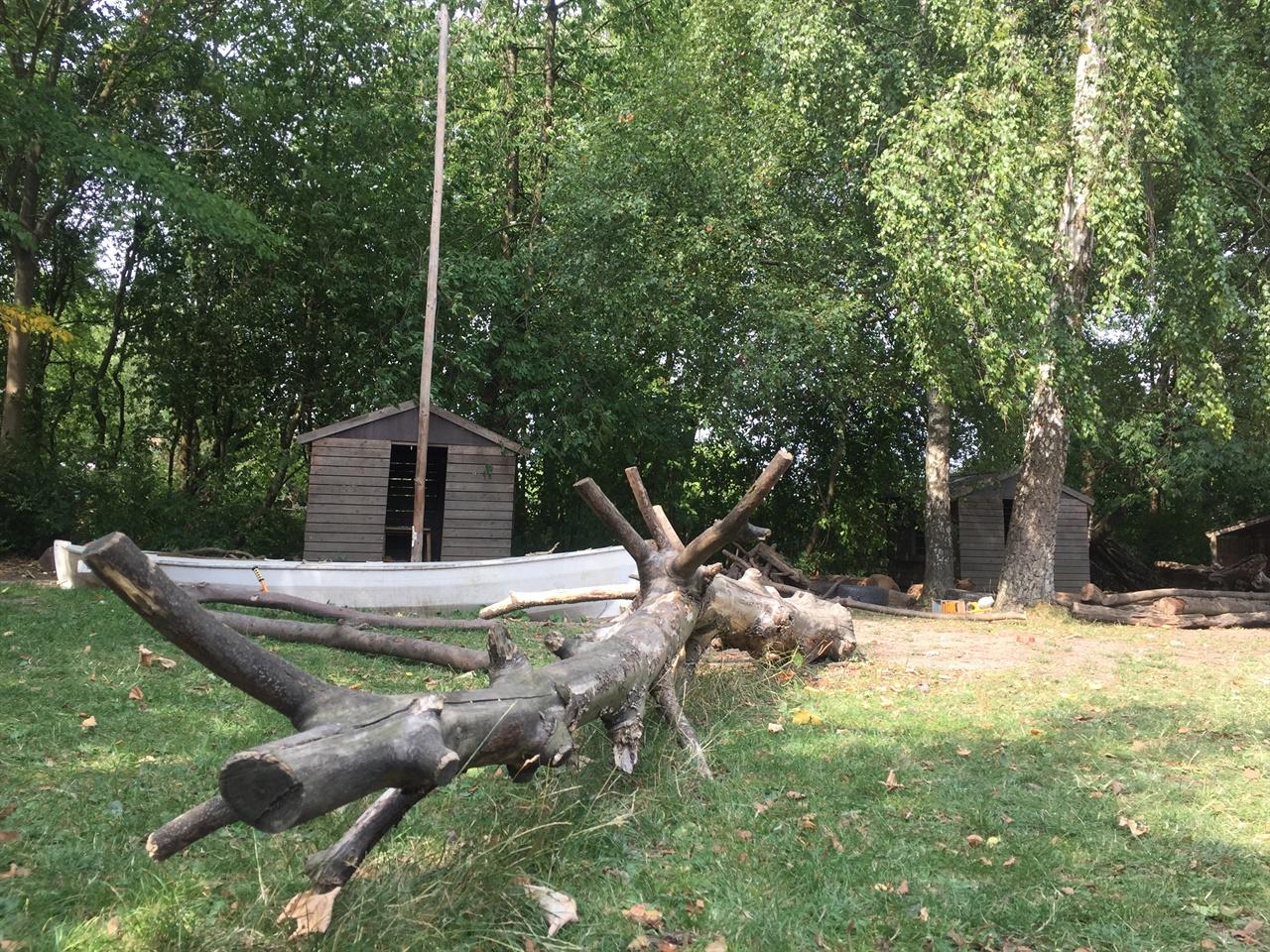 스톨홀름스게이브 숲유치원 전경 숲유치원은 아이들이 숲에서 가지고 놀 수 있는 손수레와 공구가 있는 오두막과 나무로 만든 나뭇배도 조성되어 있다. 5m가 넘는 통나무도 잔디밭 한가운데 놓여 있다.