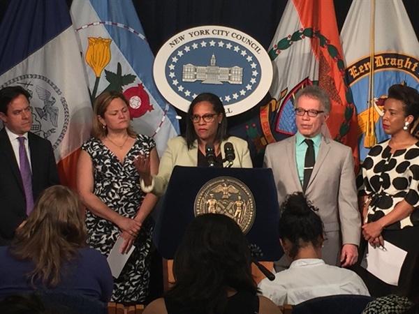 2016년 6월 21일 뉴욕 시의회는 무상생리대 지급 관련 법안을 의결했다. 사진은 투표 당일 율리사 페레라스 콥랜드 시의원이 법안을 설명하는 모습.