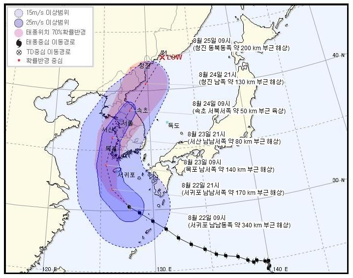 22일 오전 10시 30분 기상청 발표에 따르면 강한 중형 태풍으로 세력을 키우며 북상하고 있는 '솔릭'은, 최대풍속 43m/s(155km/h)을 유지하며 서귀포 남남동쪽 약 340km 부근 해상에서 시속 19km로 서북서진 중이라고 밝혔다.