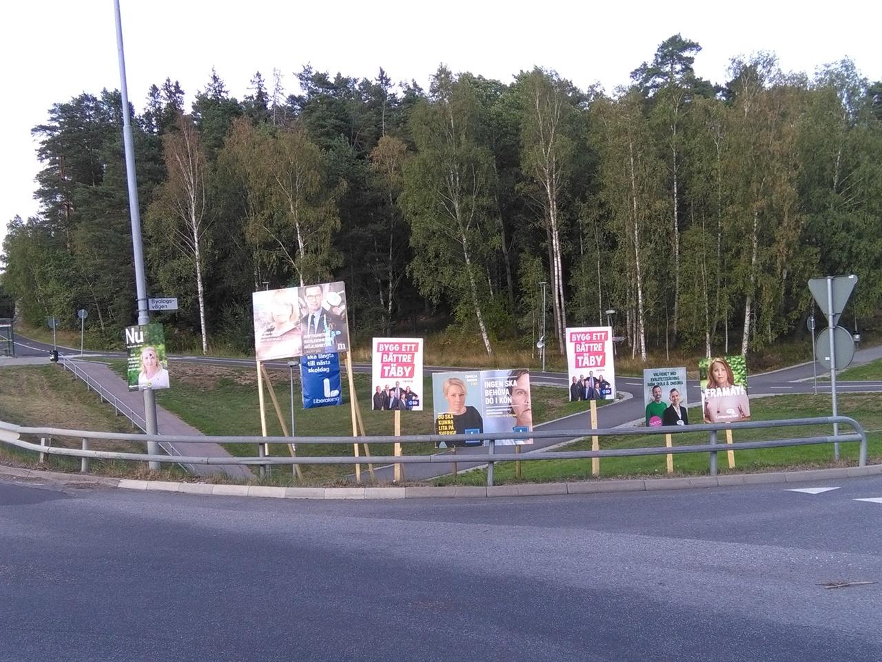 선거 포스터 통행량이 많은 교차로에 설치되어 있는 선거 포스터