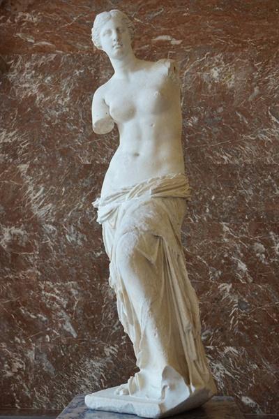 밀로의 비너스 고대 그리스의 대표적인 조각상으로 기원전 130년에서 100년 사이에 제작된 것으로 추정된다.