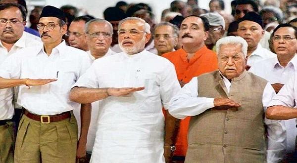 RSS와 모디 총리 인도 모디 총리가 구자라투주 장관이었을 때 인도 힌두교 극우단체 RSS 행사에 참석한 장면