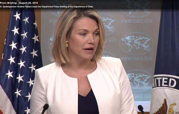 헤더 나워트 미국 국무부 대변인이 미국 동부시각으로 28일 브리핑을 하고 있다.
