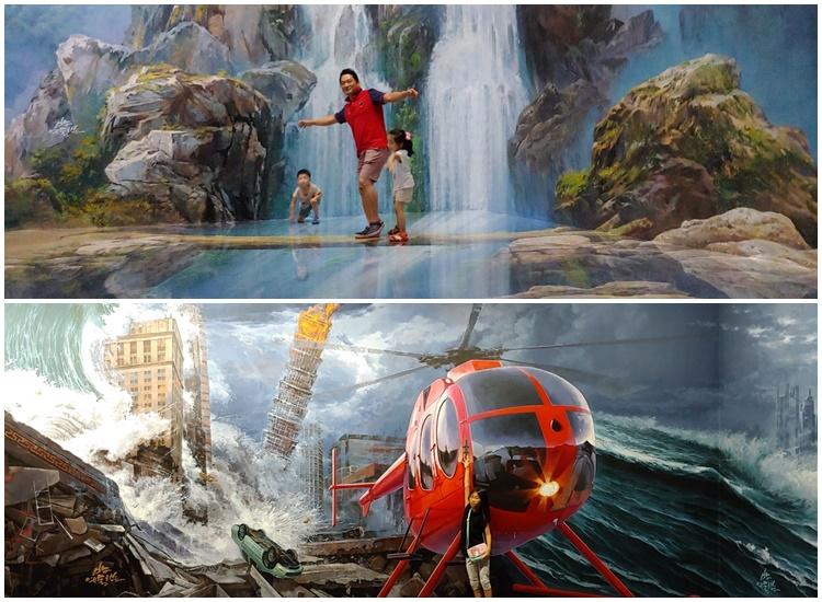예술랜드 어플인 AR로 체험하는 국내최대 테마형 '3D트릭아트뮤지엄 소설에서 관광객들이 체험중인 모습