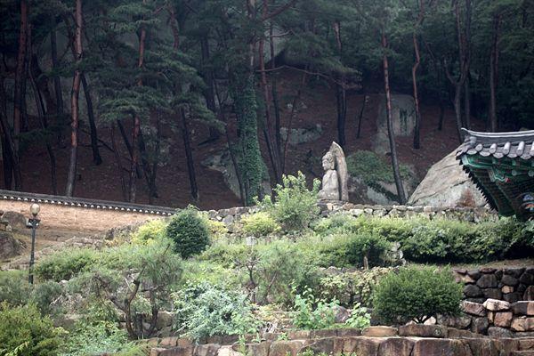 보물 제136호로 지정된 경주 남산 미륵곡 석조여래좌상 측면 모습