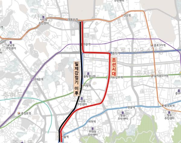 일제강점기 이후 변한 조선시대 한성부의 기본도로망