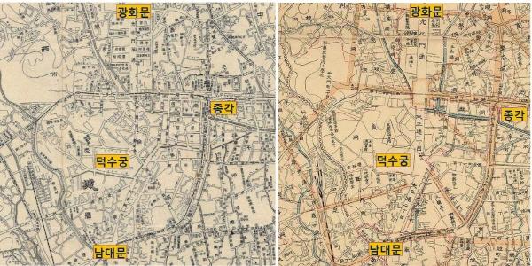 일제강점기 태평로 건설 전후의 변화(광화문~남대문 구간). 용산합병경성시가전도(좌, 1911)와 경성부명세신지도(우, 1914)