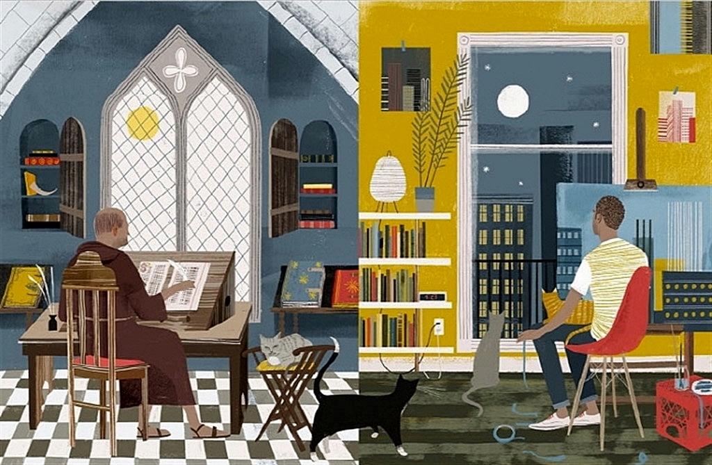 고양이와 사는 다양한 남자들이 나오는 책 속 그림.