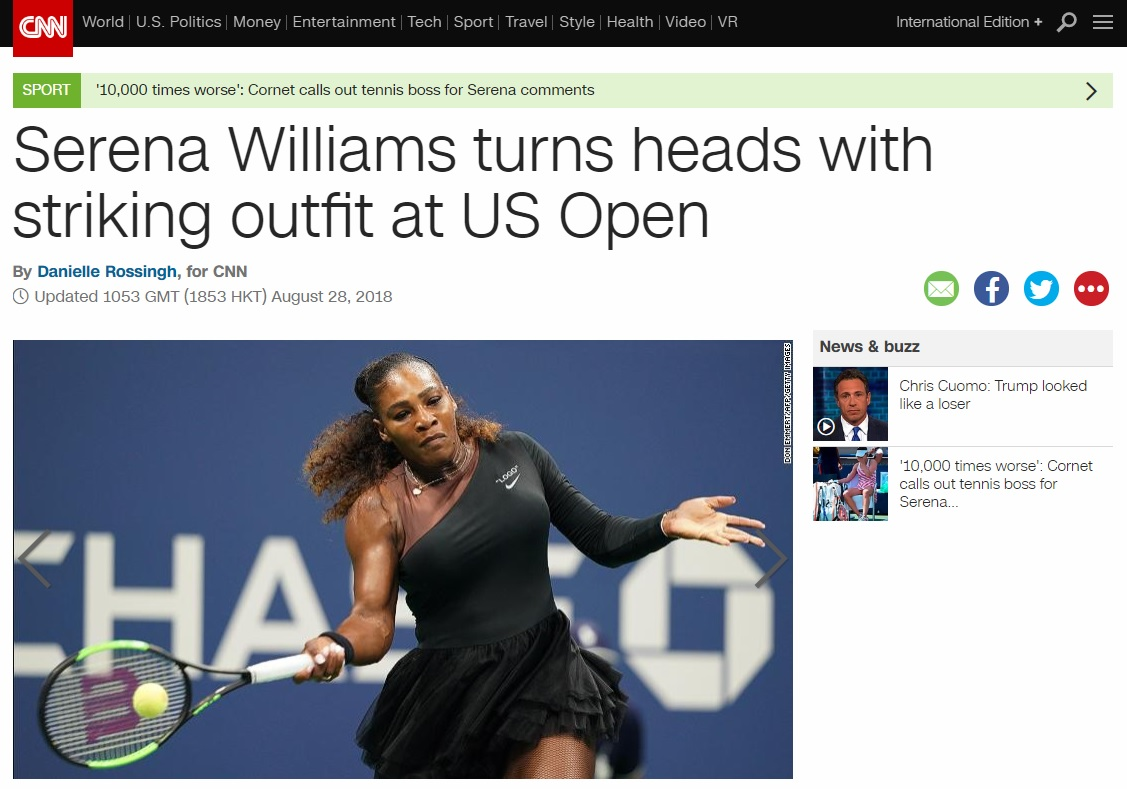 여자 테니스 선수에 대한 복장 제한 논란을 보도하는 미국 CNN 뉴스 갈무리.