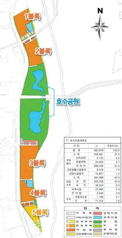 서남부 호수공원 예정부지 택지계획 `.