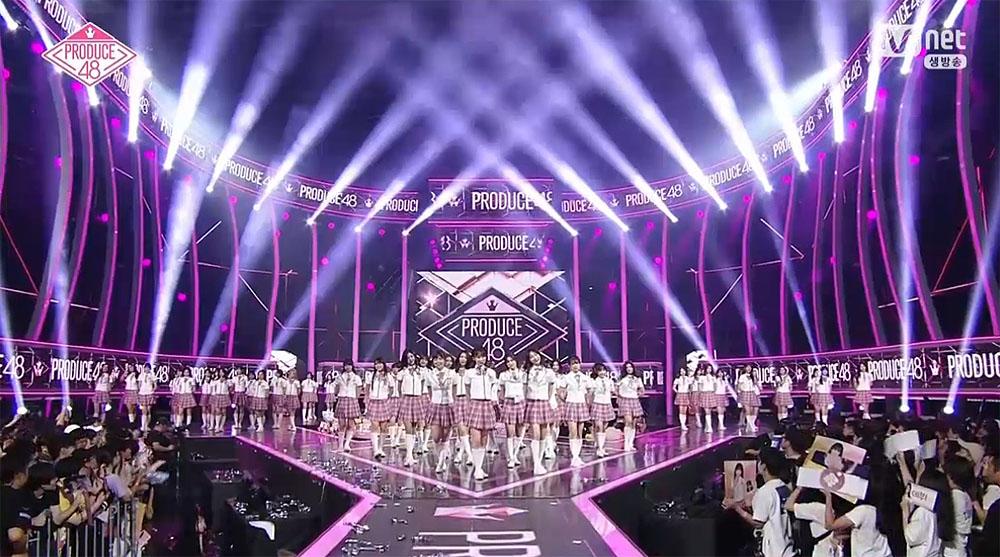 지난 8월 31일 방영된 엠넷 < 프로듀스 48 > 최종 생방송의 한 장면.
