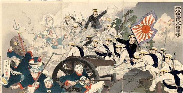청일전쟁을 그린 판화 '1894년 평양 전투'. 작가는 미즈노 도시가타.