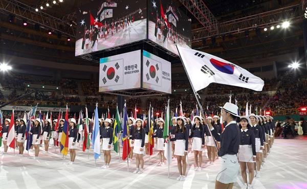 9월 1일 오후 창원실내체육관에서 열린 '2018 창원세계사격선수권대회' 개막식.