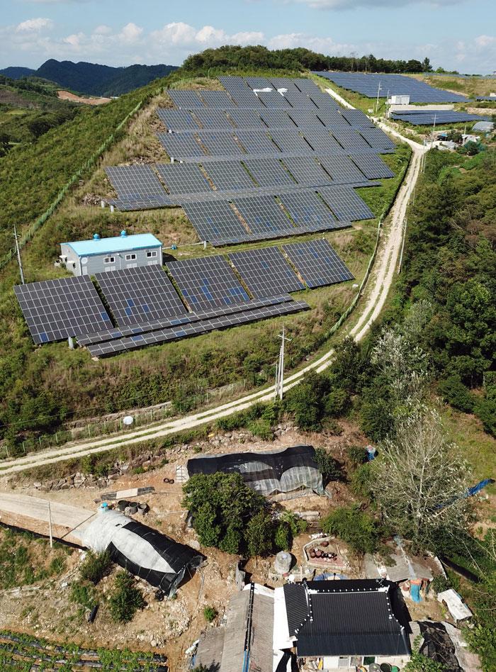 태양광발전시설이 전라북도 임실군 국도변 야산을 뒤덮고 있다.