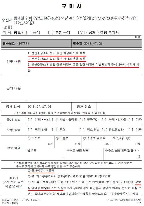 구미참여연대가 요청한 '박정희 유물 도록 및 목록 정보 공개 요구'에 대해 구미시가 통지한 비공개 답신. '영업상 비밀'이어서 비공개 결정을 했다는 내용이다.