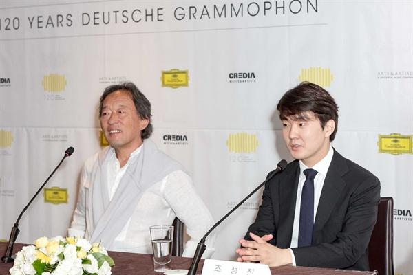도이치 그라모폰 세계적인 음반사 도이치 그라모폰의 120주년을 기념해 갈라콘서트에 참여하는 지휘자 정명훈, 피아니스트 조성진, 그리고 도이치 그라모폰의 사장 클레멘스 트라우트만이 지난 3일 오전 서울 중구 더플라자호텔에서 기자회견을 열었다.