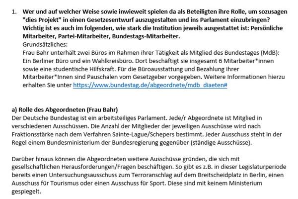 독일 연방의회의 사회민주당 울리케 바르(Ulrike Bahr, 바이에른 아욱스부르크 지역구 의원) 의원실이 설명한 독일 의회 입법처리 과정 설명문 원본.
