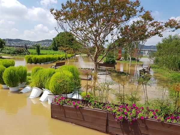 지난밤 폭우로 금강 수위가 오르면서 공주 백제문화제 행사장이 침수됐다.
