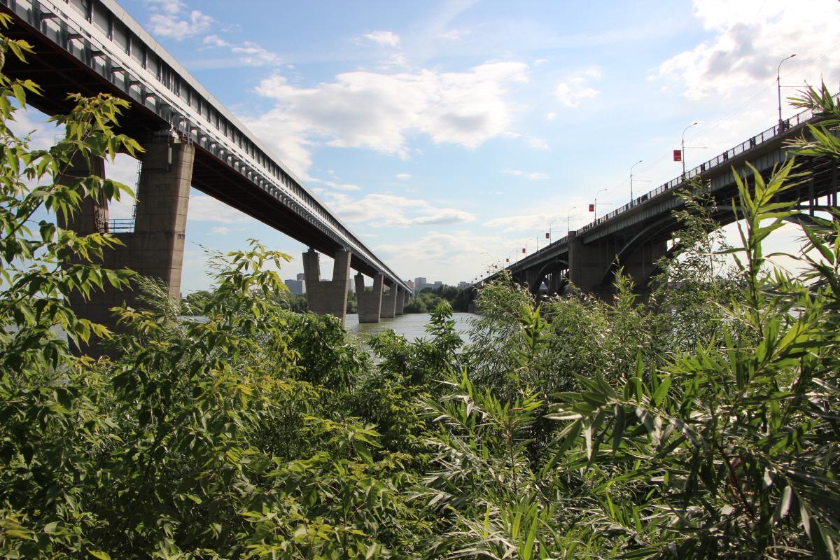 오비강 위에 놓인 두 개의 다리