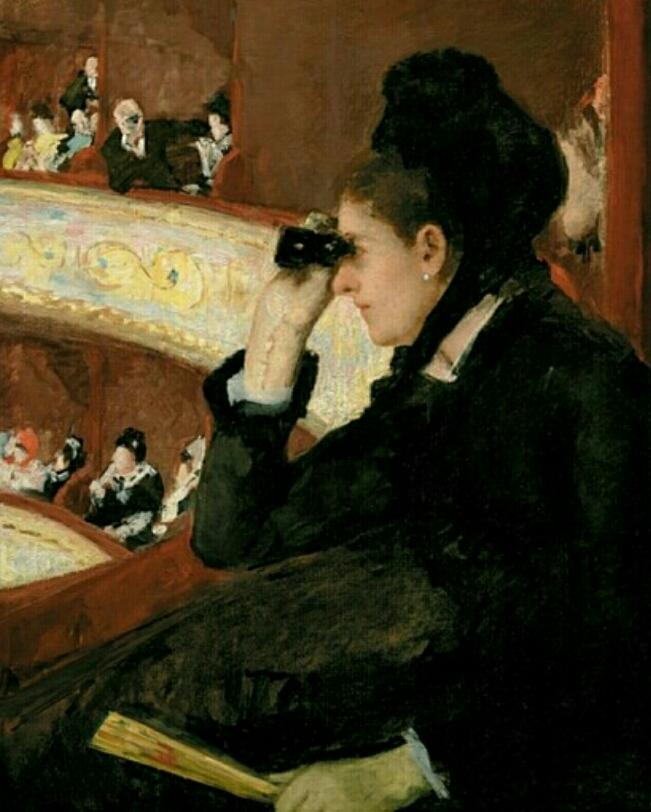 검은 옷을 입고 오페라 관람석에서(메리 커셋,1880.보스톤 파인아트 뮤지엄)