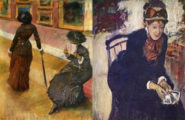 왼쪽-루브르에서 메리 커셋(에드가 드가,1880년경,개인소장) 오른쪽-카드를 손에 쥔 메리 커셋의 초상(에드가 드가,1884, 워싱턴 스미소니언 국립초상화 미술관)