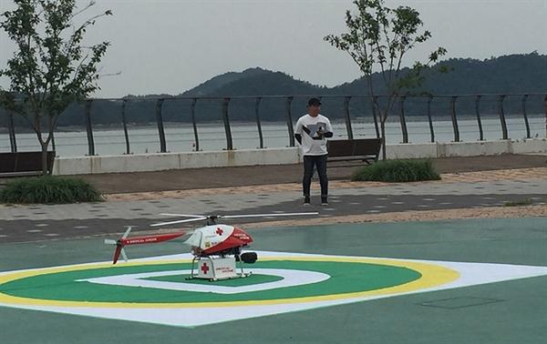 '메디컬 드론' 시험비행을 위해 착륙해 있다.