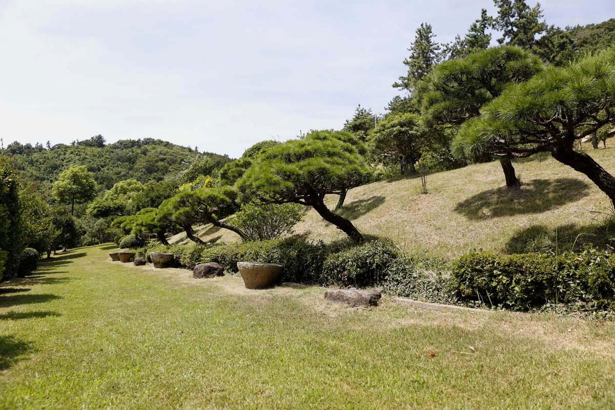 초암정원은 사철 푸르름을 자랑하는 개인정원이다. 나무가 자라는 땅 외엔 대부분 잔디가 자라고 있다.
