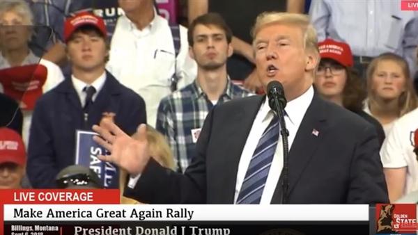 6일 트럼프 대통령이 몬태나주 빌링에서 중간선거 유세 연설을 하고 있다.