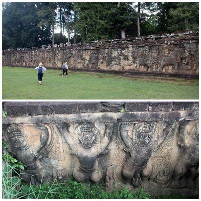 앙코르톰 코끼리테라스 좌우에 새긴 코끼리, 가루다 부조 모습