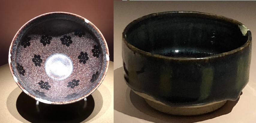 치지꽃무늬 흑유 완은 길주요에서 만들었고, 왼쪽 잔은 자주요에서 만들었습니다.