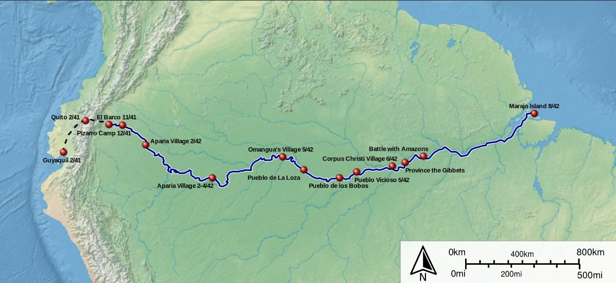 프란시스코 데 오레야나의 아마존 탐사 루트