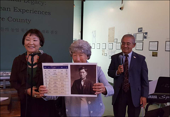이재수 이번 8.15광복절에 독립유공자로 서훈을 받은 이재수 애국지사의 후손이 참석하여 특별 인사를 하고 있다.